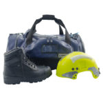 P7242 Firetech Deluxe Employee Gear Bag front view black boots and neon yellow helmet.